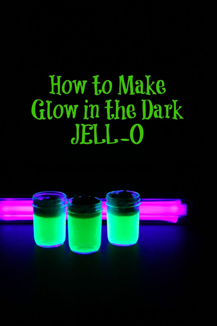 How to Make Glow in the Dark JELL-O ~ fun science project and a super fun Halloween treat. Pick up a black light or black light bulb to show off it's glow!
