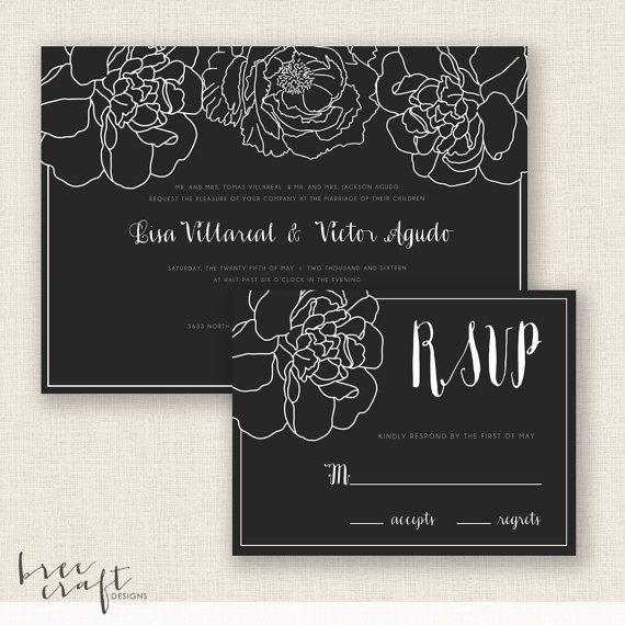 ELEGANT FLORAL - DIY Printable Wedding Set  by #breecraftdesigns #invitation #etsy #reply #card #rsvp #wedding #vintage #modern #floral #flowers #botanical #calligraphy #cursive #font #gray #grey #blackandwhite