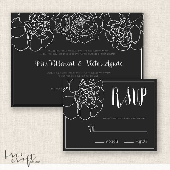 ELEGANT FLORAL - DIY Printable Wedding Set  by #breecraftdesigns #invitation #etsy #reply #card #rsvp #wedding #vintage #modern #floral #flowers #botanical #calligraphy #cursive #font #gray #grey #blackandwhite