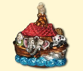 "Noah's Ark, 4 ¼"", glass ornament"