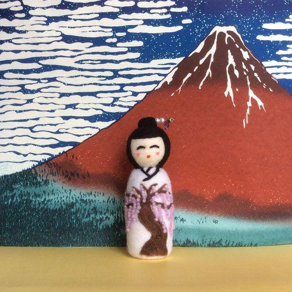 Fujiko handmade needle felted japanese kokeshi by SweetPeaDolls