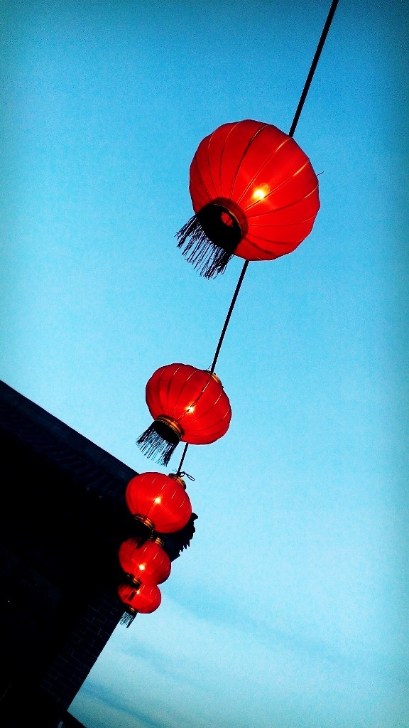 Red lantern of new year in China