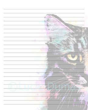 Digital Printable Journal writing lined Page Cat 618 Stationary 8x10 Download Scrapbooking Paper Template art painting L.Dumas by DigitalsbyLucie on Etsy