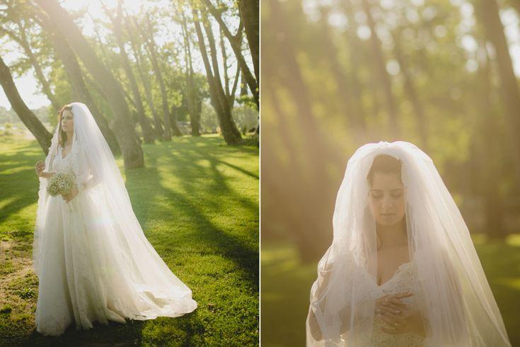 Golden light wedding portraits at sunset