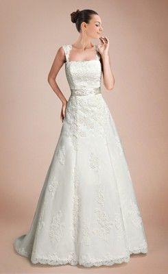 Brilliant A-line Square  Wedding Dress with Appliques