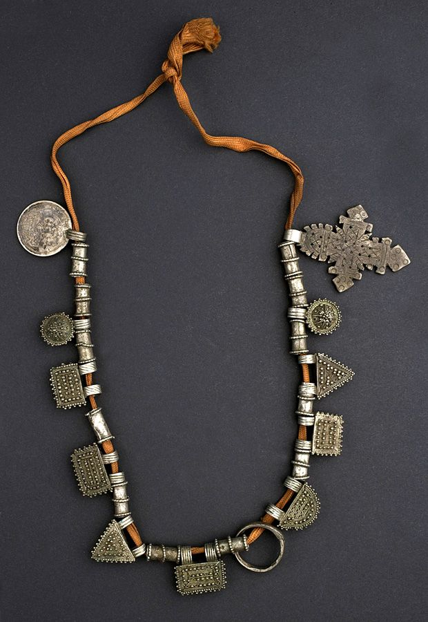 Silver textile Amulets, necklace Amhara, Ethiopia 1971