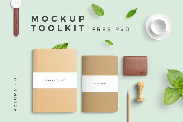 Free PSD Mockup Toolkit #free #psd #photoshop #notebook #kraft