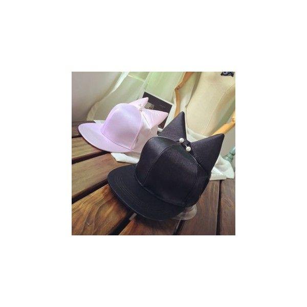 Cat Ear Baseball Cap ($9.90) ❤ liked on Polyvore featuring accessories, hats, women, ball cap hats, adjustable baseball caps, cat ears hat, adjustable hats and ball cap