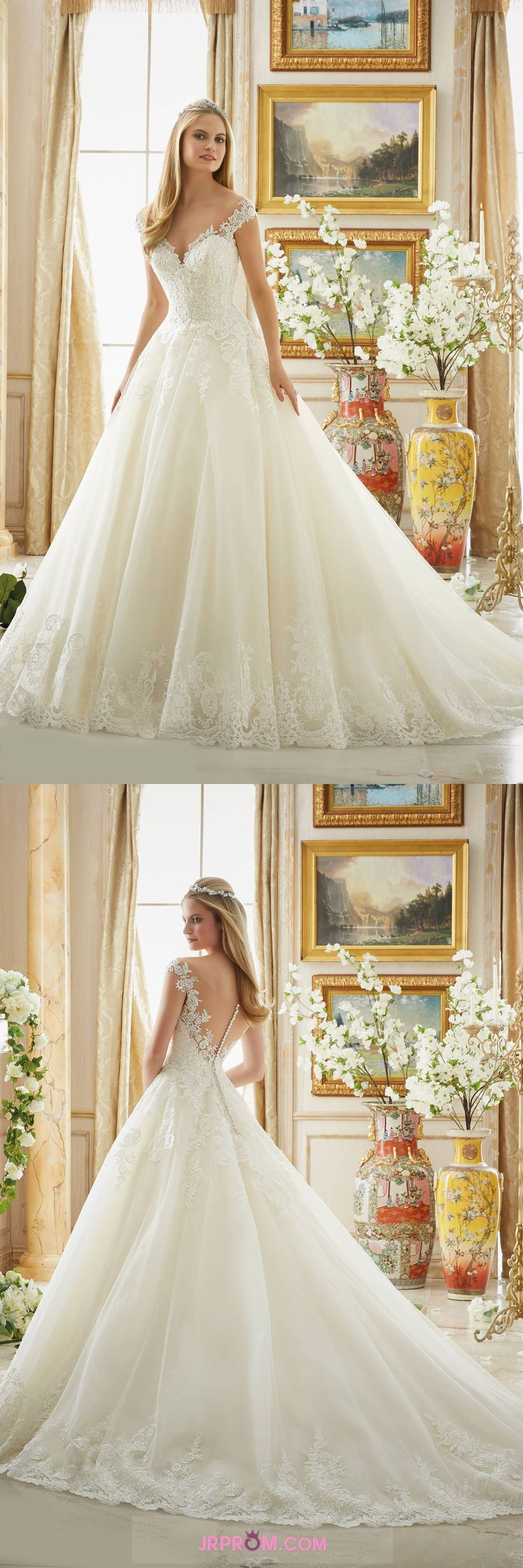 Cap Sleeve Wedding Dresses A Line Tulle With Applique Item Code:#JRP63X32SZ