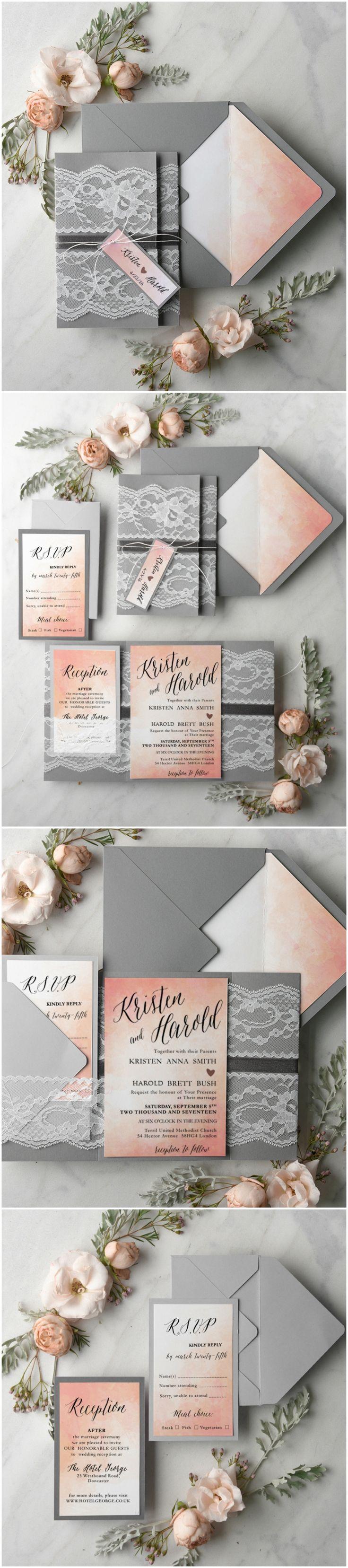 Ombre Lace Romantic Wedding Invitations #ombre #peach #romantic #elegant #wedddingideas #stationery #weddinginvitations