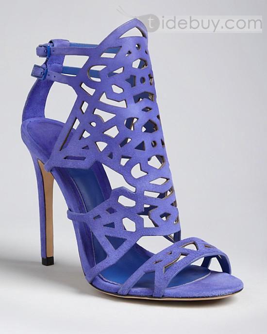 Gorgeous Purple Kidsuede Upper Stiletto Heels Women Sandals