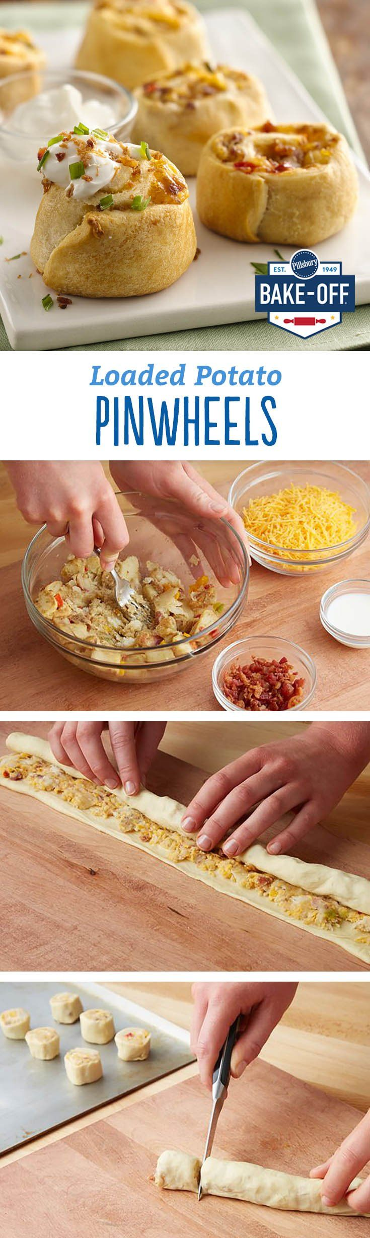 Cheesy potatoes, bacon and crescent dough come together for an appetizer that's all kinds of delicious. It's no surprise why these pinwheels are one of our highest-rated Bake-Off recipes. Easy, innovative and totally scrumptious.