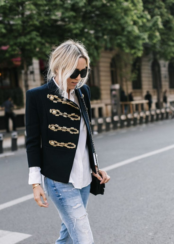 Military jacket and distressed denim...