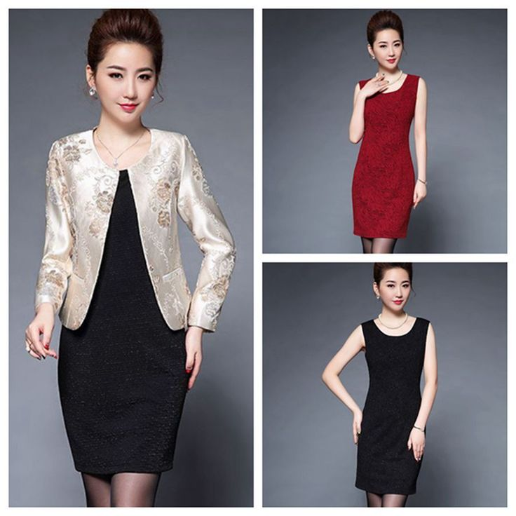 Ladies Suit Coat Windbreas Jacket Flower Outwear Waistcoat Topcoat Coat+Dress