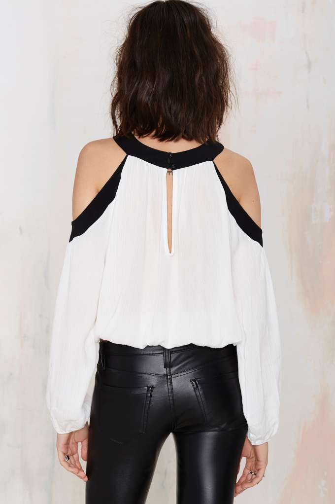 Black and White Cold Shoulder Top