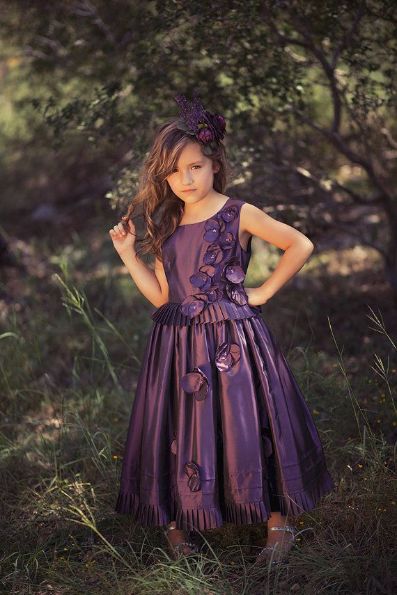 Communion Dress, Couture Dress, Haute Couture, Special Occasion, Plum Flower Girl, Pageant Dress, Junior Bridesmaid Dress