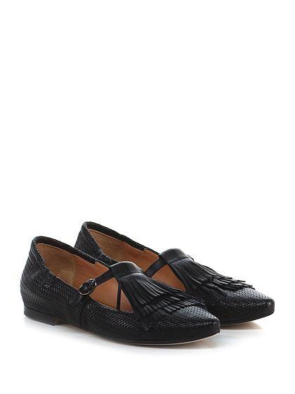 Masami - Scarpa bassa - Donna - Scarpa bassa in pelle effetto intrecciato e pelle con cinturino alla caviglia e frange frontali. Suola in cuoio e gomma. - NERO - € 179.00