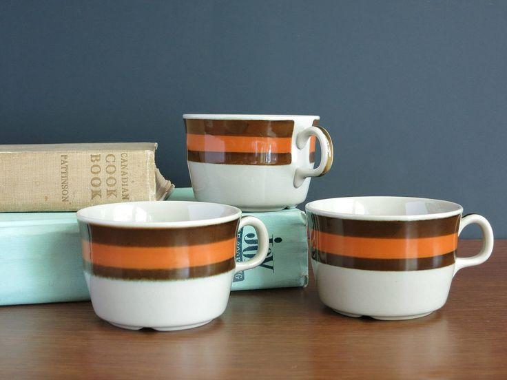 Rorstrand Annika Tea Cups Mugs - 3 Rörstrand Sweden Cups Teacups - Marianne Westmann Design - 1970s Swedish Danish Modern - Brown Orange by EightMileVintage on Etsy
