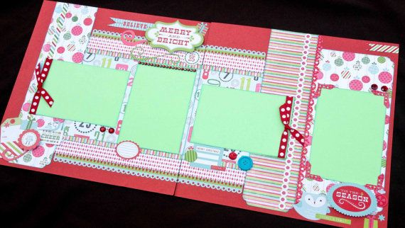 """12x12 Scrapbook Page Merry & Bright Christmas Kit . DIY Kit or Pre-Made Double Page Layout. Christmas Scrapbook Layout. 12x12 Christmas Page. Echo Park """"Merry & Bright"""" paperline."""