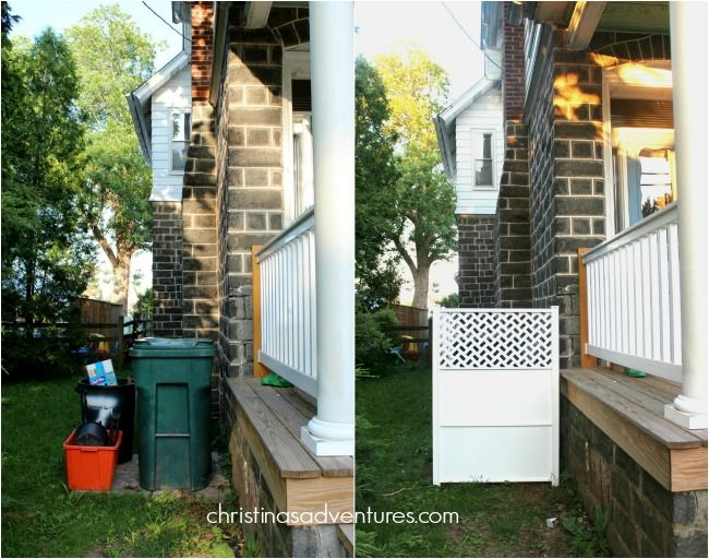 How to hide your trash can - in 30 minutes...with no hardware, no concrete, and no glue! Seriously easy DIY project that really helps your curb appeal