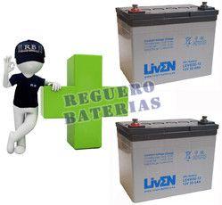 Conjunto de 2 baterías de GEL 12 Voltios 32 Amperios para Aplicaciones Ciclicas LIVEN LEVG32-12