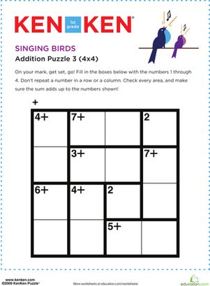 Your first grader will need her addition facts and a bit of logic to solve this KenKen® math puzzle.