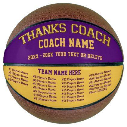 Coach Team All Player's Names Custom Basketball - thank you gifts ideas diy thankyou