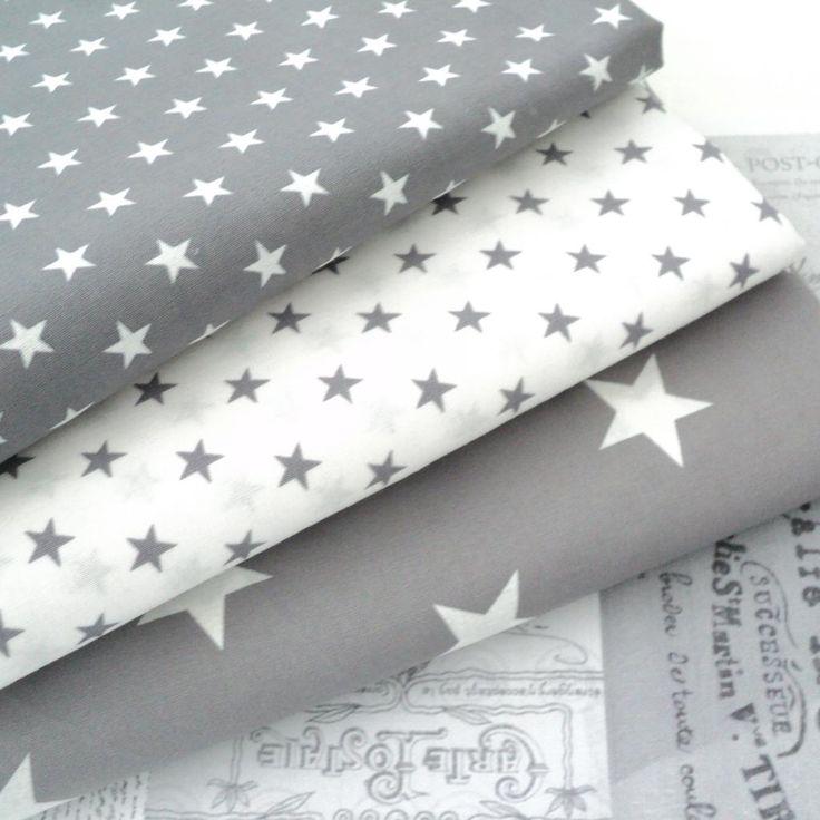 grey & white star fabric / tissus gris étoiles