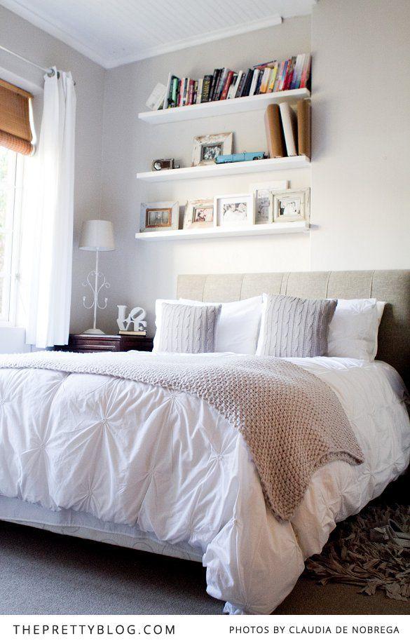 White duvet, knit throw, rag rug