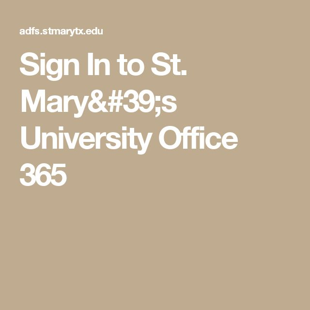 Sign In to St. Mary's University Office 365