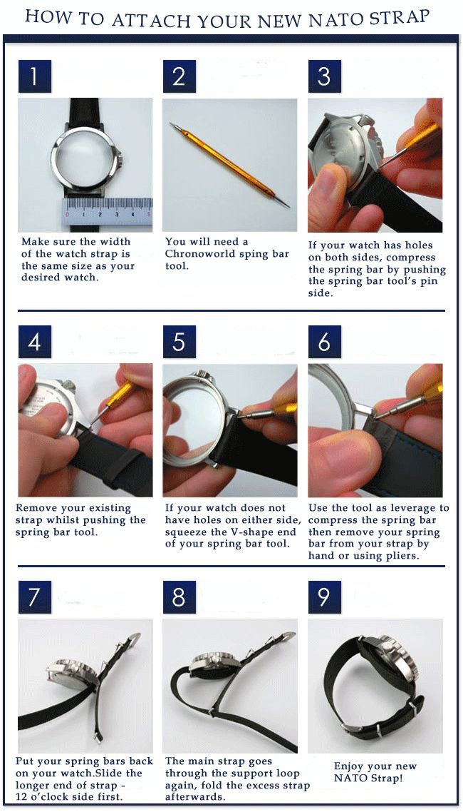 Instructions on how to attach #NATOStrap to your watch. **SPECIAL OFFER** with every purchase of Watch strap made at Chronoworld.com we are giving you a FREE Spring Bar Tool Kit !!