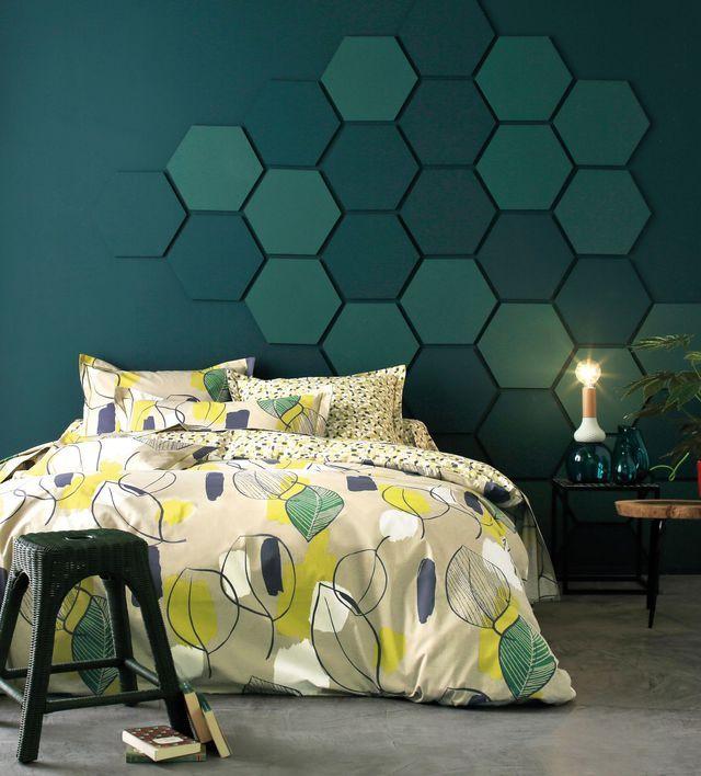 tête de lit fresque géométrique - médium et double face