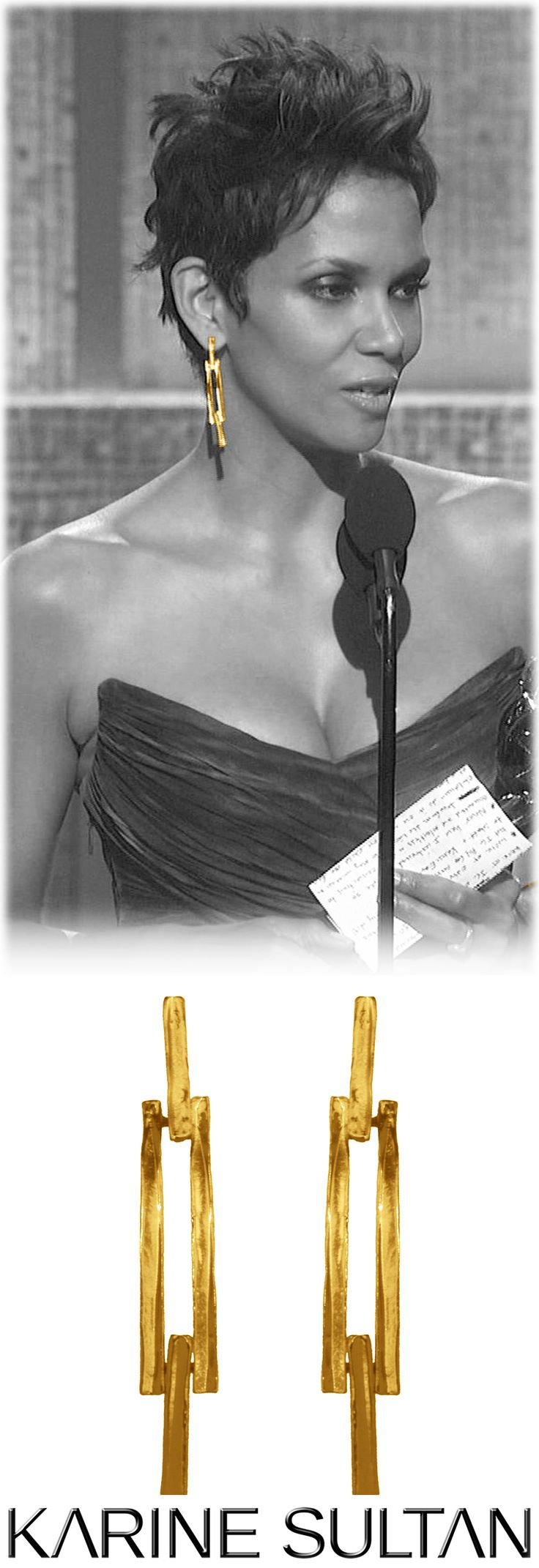 Camille (gold) earrings worn by Halle Berry.  Karine Sultan Jewelry
