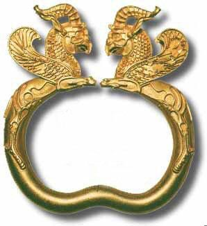 Ancient bracelet, part of the Oxus Treasure, Achaemenid Persian, 5th to 4th c. BC. From the region of Takht-i Kuwad, Tadjikistan. British Museum