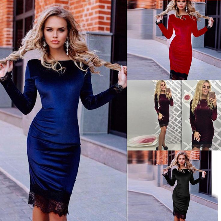 Elegant Women Lace Bodycon Velvet Dress Women Long Sleeve Casual Velour Dress 2017 Autumn Winter Party Black Dresses