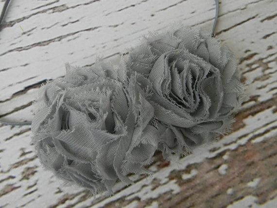 Grey Flower Headband  Shabby Chic Chiffon by AddysAtticOnEtsy