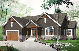 Kipling 4 New Craftsman house plan, large kitchen island, central fireplace, open floor plan layout - W3260-V3