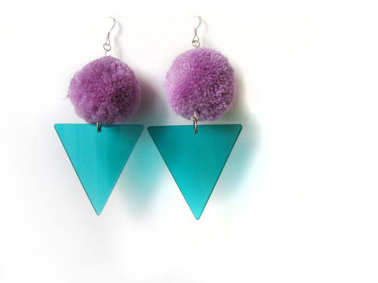 Purple Pom Earrings, Teal Acrylic Triangle Earrings, Party Fluffy Earrings, Lazer Cut Jewelry, Fancy Earrings, Geometric Dangle Earrings by petiteutile on Etsy