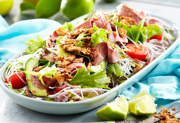 Thai beef salad with glass noodles Summer entertaining is easy with dishes like this mouth-watering salad.