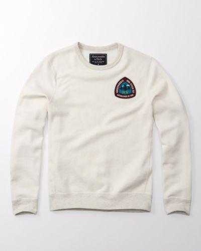 NWT-Abercrombie-amp-Fitch-Men-039-s-Graphic-Crew-Sweatshirt-Navy-White-Color