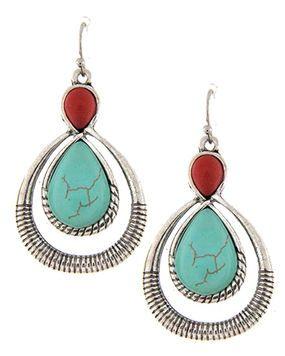Western Turquoise Teardrop Dangle Earrings