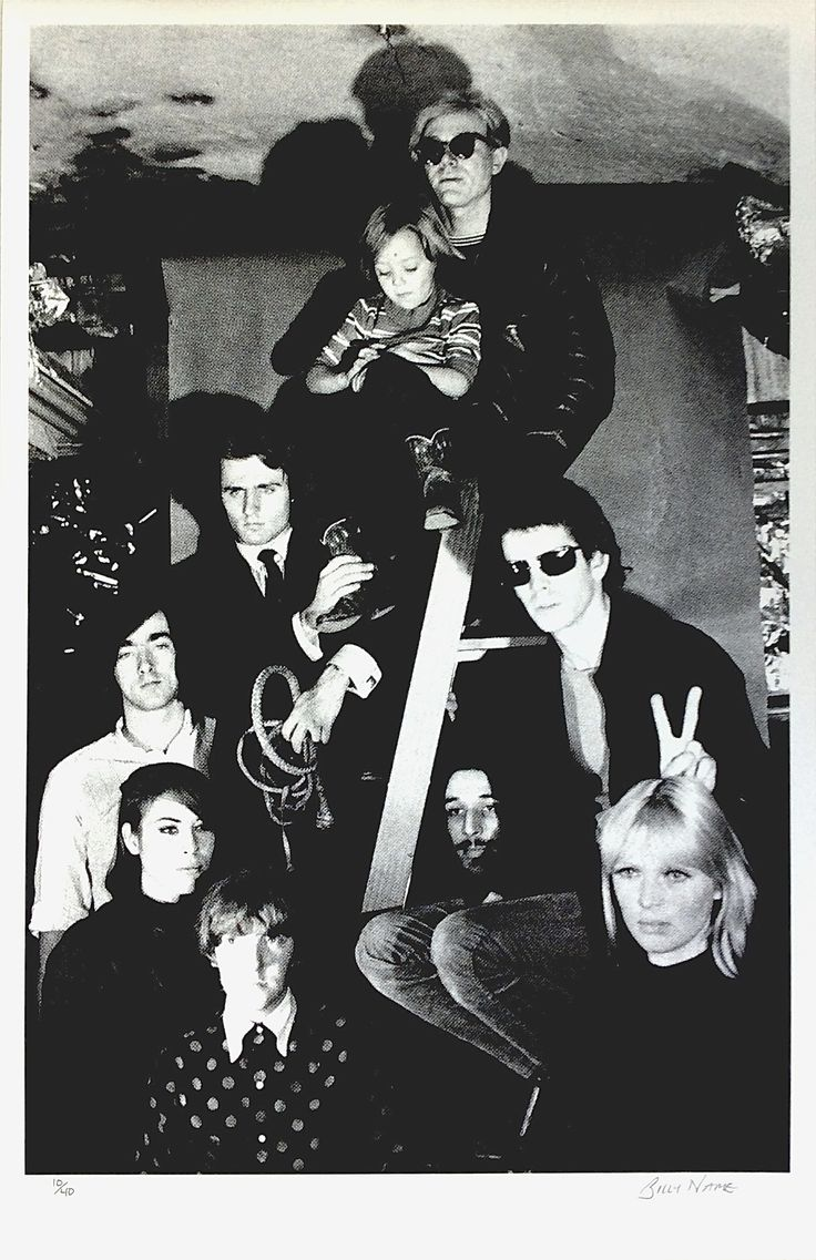The Velvet Underground with Nico, Andy Warhol, Mary Woronov and Gerard Malanga at Warhol's Silver Factory in 1966. Signed Billy Name Serigraph