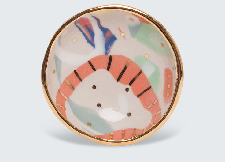 Beautiful dishes by ceramic artist Ruby Pilven. Each is a one off ceramic piece with a unique pattern.