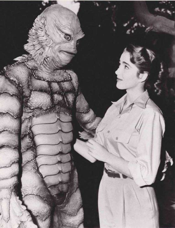 Julie Adams and Ben Chapman (in the makeup) during the filming of 'The Creature from the Black Lagoon.' 1953  https://twitter.com/NotableHistory