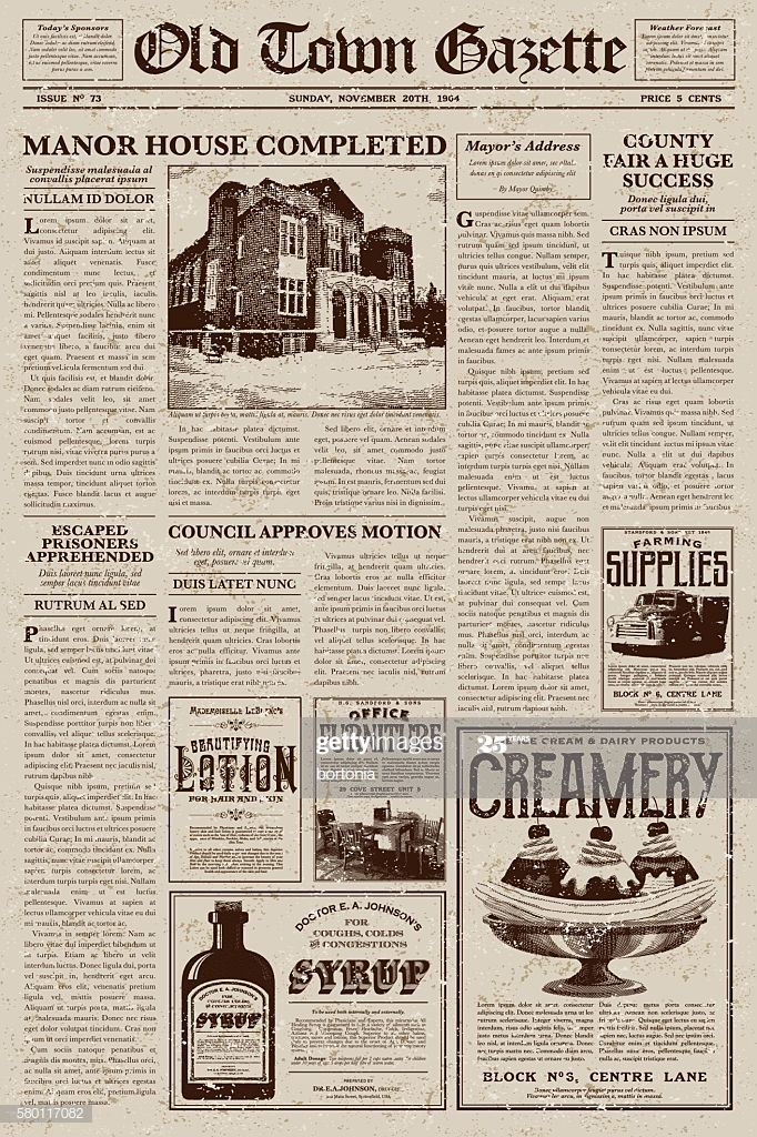 A Vector Illustration Of An Old Fashioned Newspaper In A Victorian In 2020 Vintage Newspaper Newspaper Design Vintage Paper