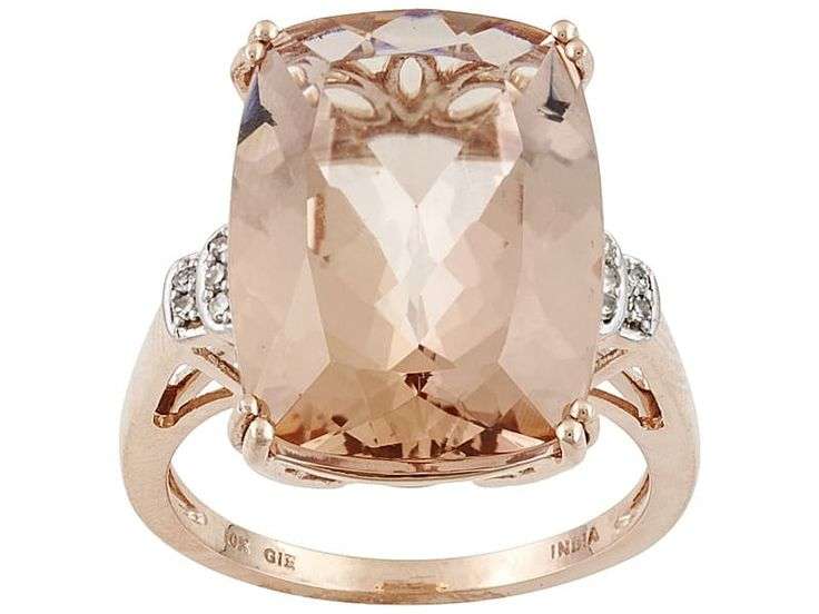 10.20ct Cushion Cor-de-rosa Morganite (Tm) With .04ctw Round Diamond Accents 10k Rose Gold Ring