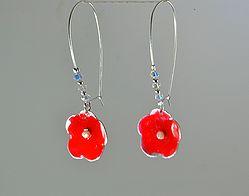 Ασημένια επισμαλτωμένα σκουλαρίκια με μαργαριτάρι