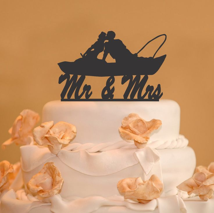 Fishing Couple in Boat Kissing -  Mr. and Mrs. Wedding Cake Topper - canoeing cake topper - Silhouette topper- fishing cake topper by CakeTopperConnection on Etsy https://www.etsy.com/listing/249934499/fishing-couple-in-boat-kissing-mr-and