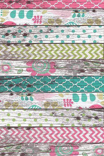 7503 Teal Pink Wood Patterned Floor Backdrop - Backdrop Outlet - 2