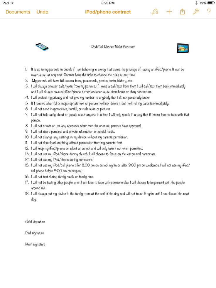 Kids tween teen cell phone iPod tablet contract I've seen a few online but never had one that included everything we wanted so I just made my own